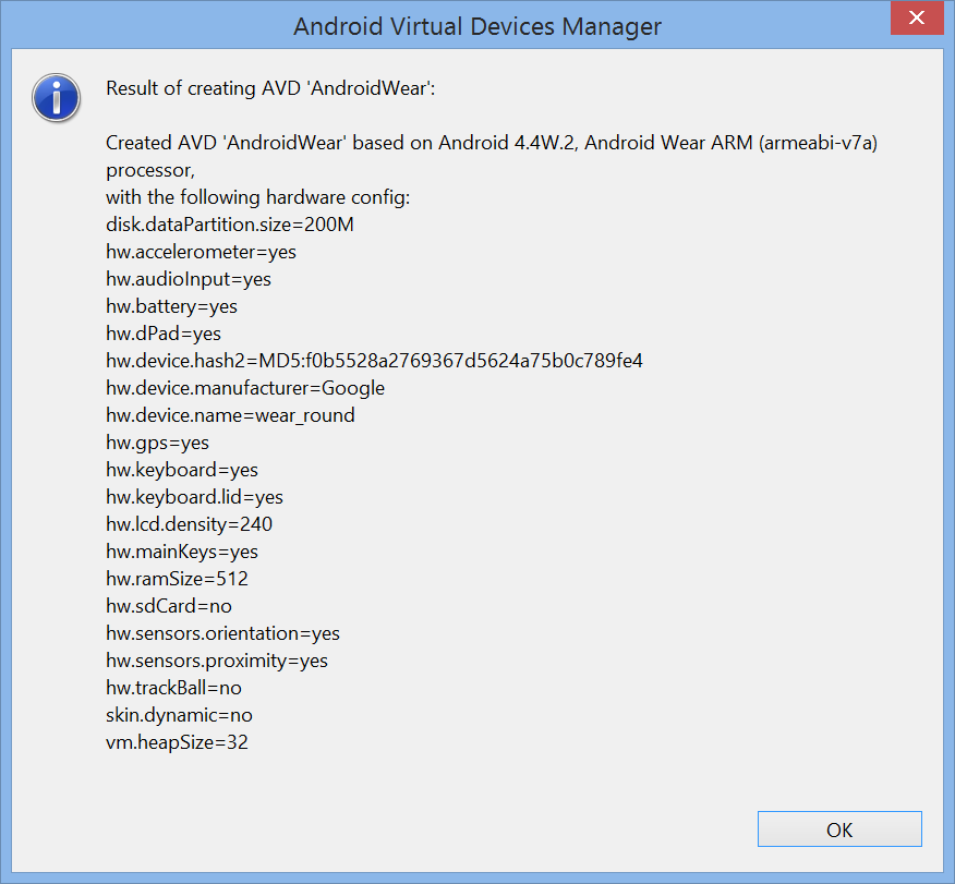 Android Wear AVD creation ok