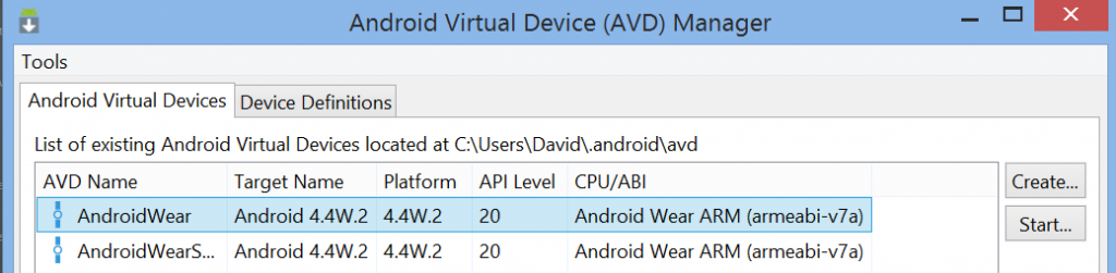 Android Wear list devices