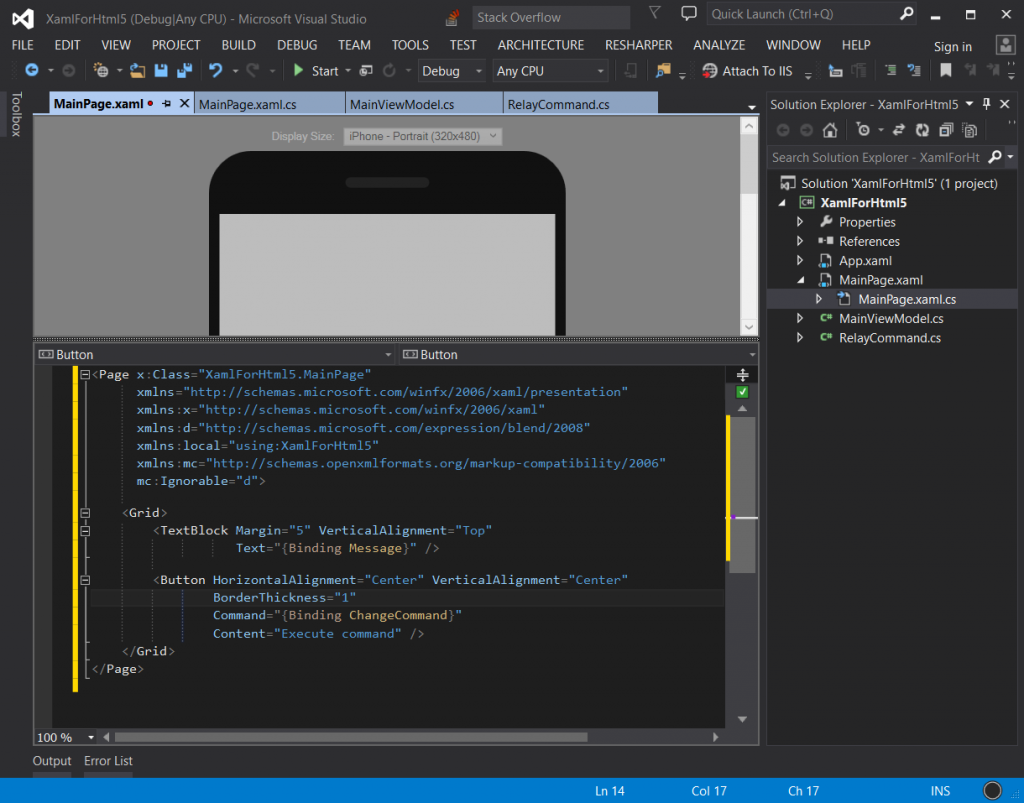 code in c# and xaml