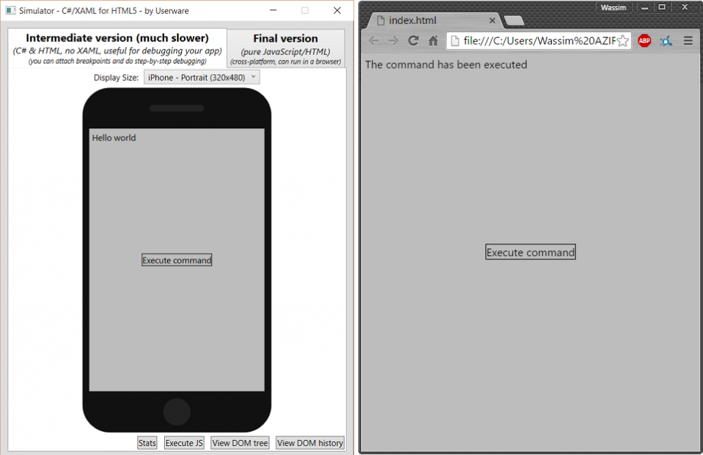 execute on emulator and browser